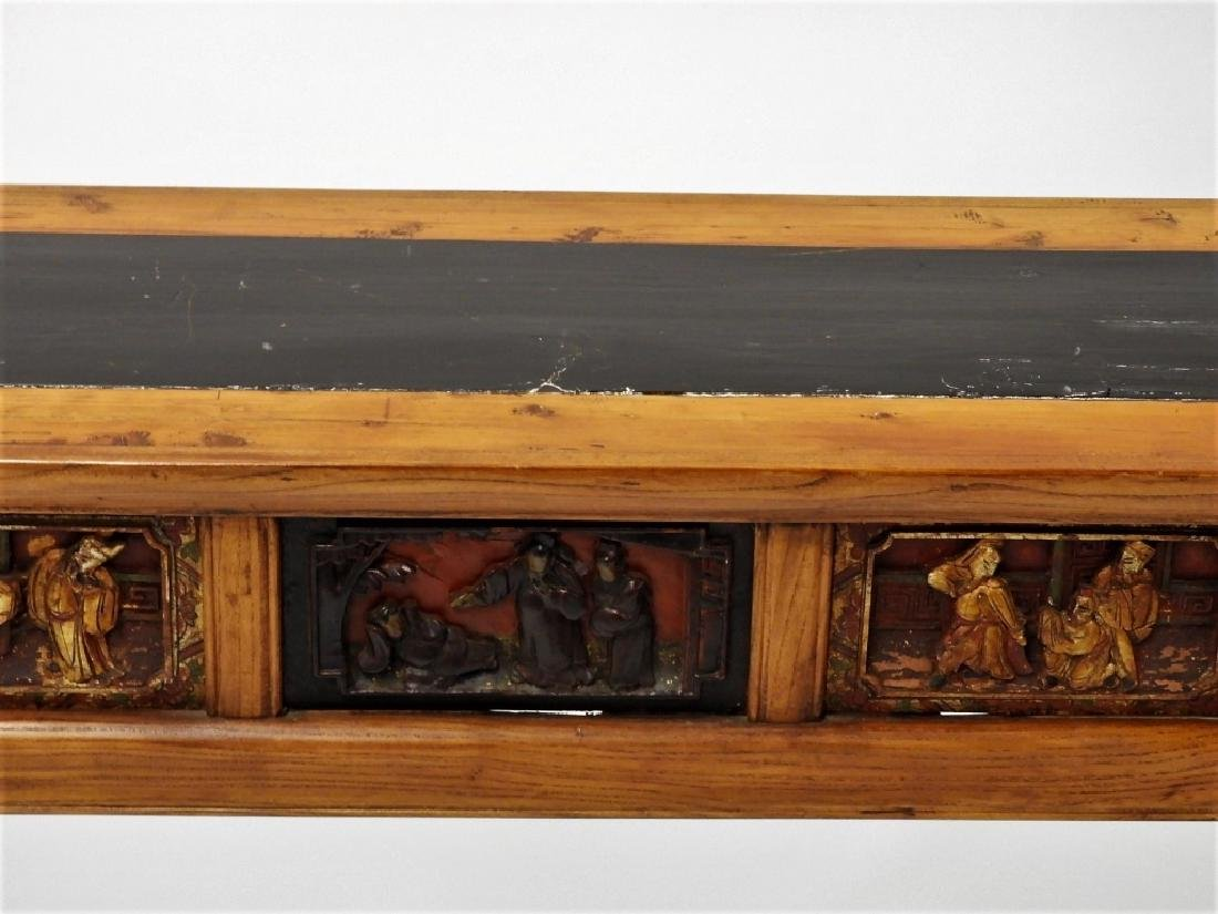 Chinese Carved Scenic Panel Hardwood Alter Table - 2
