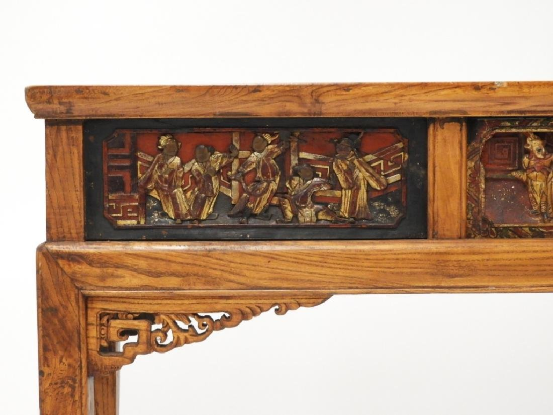Chinese Carved Scenic Panel Hardwood Alter Table - 3