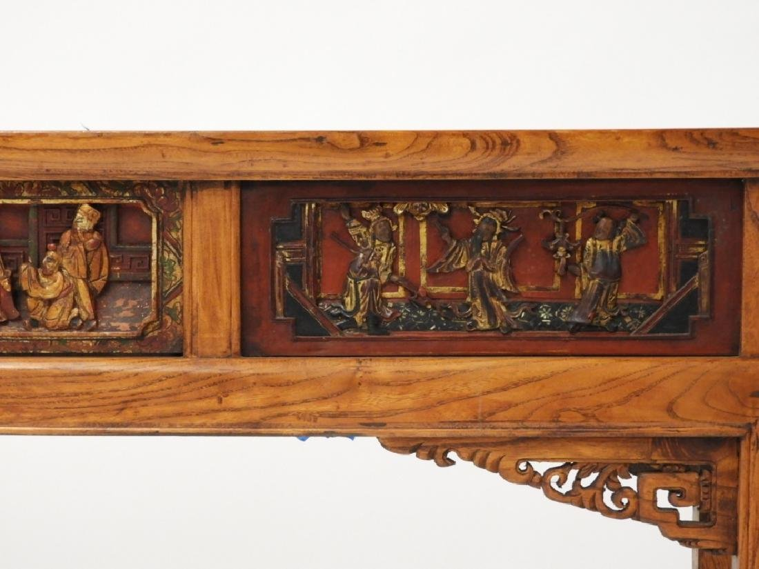 Chinese Carved Scenic Panel Hardwood Alter Table - 5