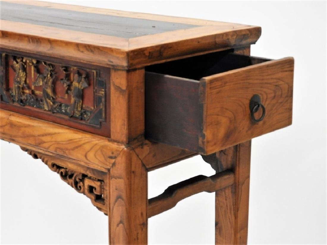 Chinese Carved Scenic Panel Hardwood Alter Table - 7