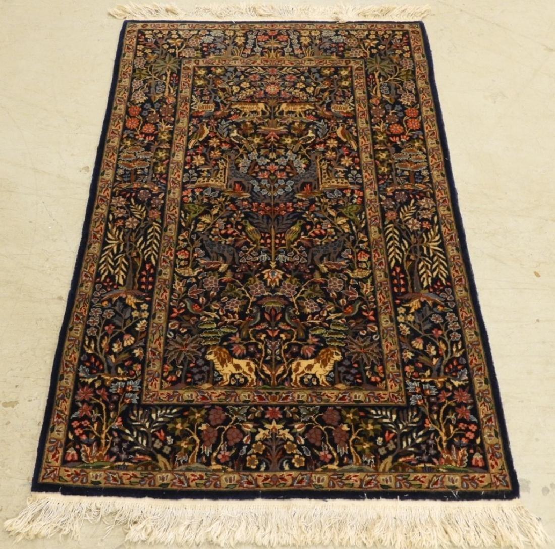 Oriental Persian Kerman Pictorial Animal Carpet