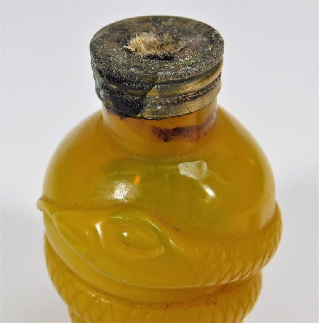 Chinese Carved Egg Yolk Peking Glass Snuff Bottle - 5