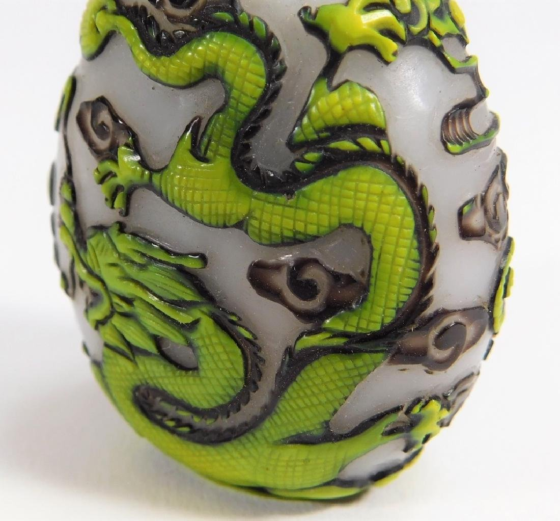 Chinese 2 Color Overlay Peking Glass Snuff Bottle - 7