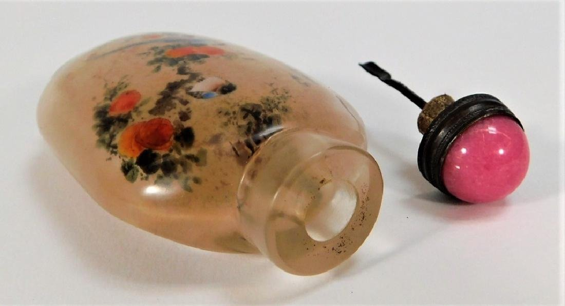 Chinese Reverse Painted Glass Avian Snuff Bottle - 6