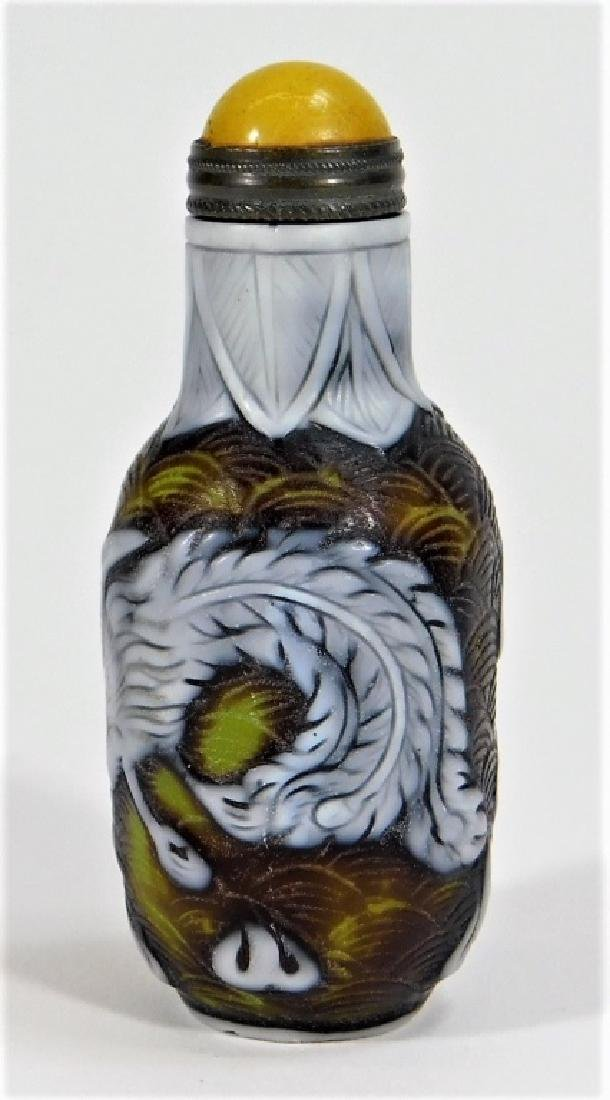 Chinese 3 Color Peking Glass Phoenix Snuff Bottle - 2