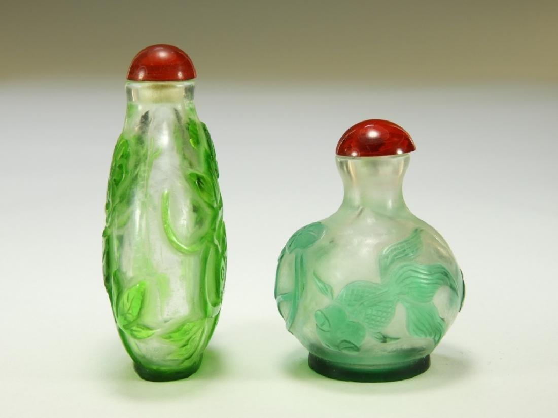 2 Chinese Peking Glass Overlay Snuff Bottles - 2