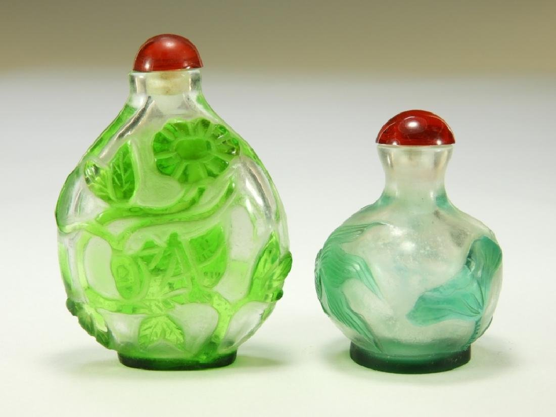 2 Chinese Peking Glass Overlay Snuff Bottles - 3
