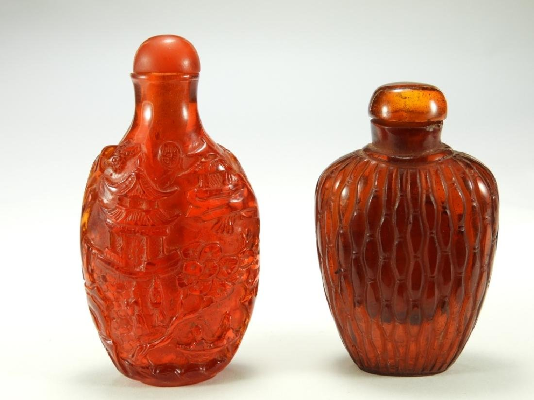 2 Chinese Faux Amber Snuff Bottles
