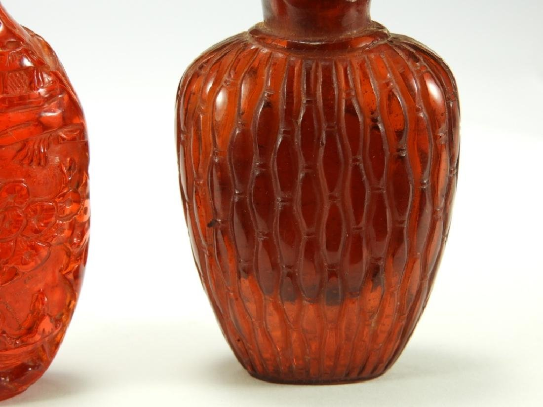 2 Chinese Faux Amber Snuff Bottles - 3