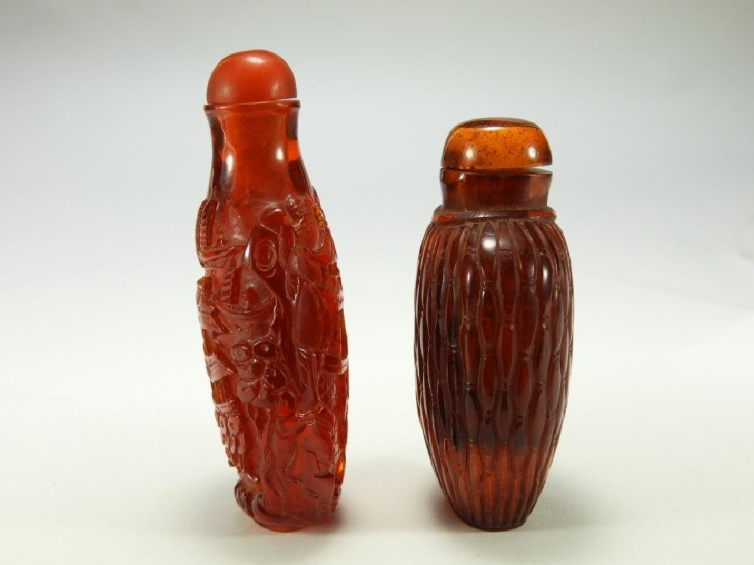 2 Chinese Faux Amber Snuff Bottles - 4