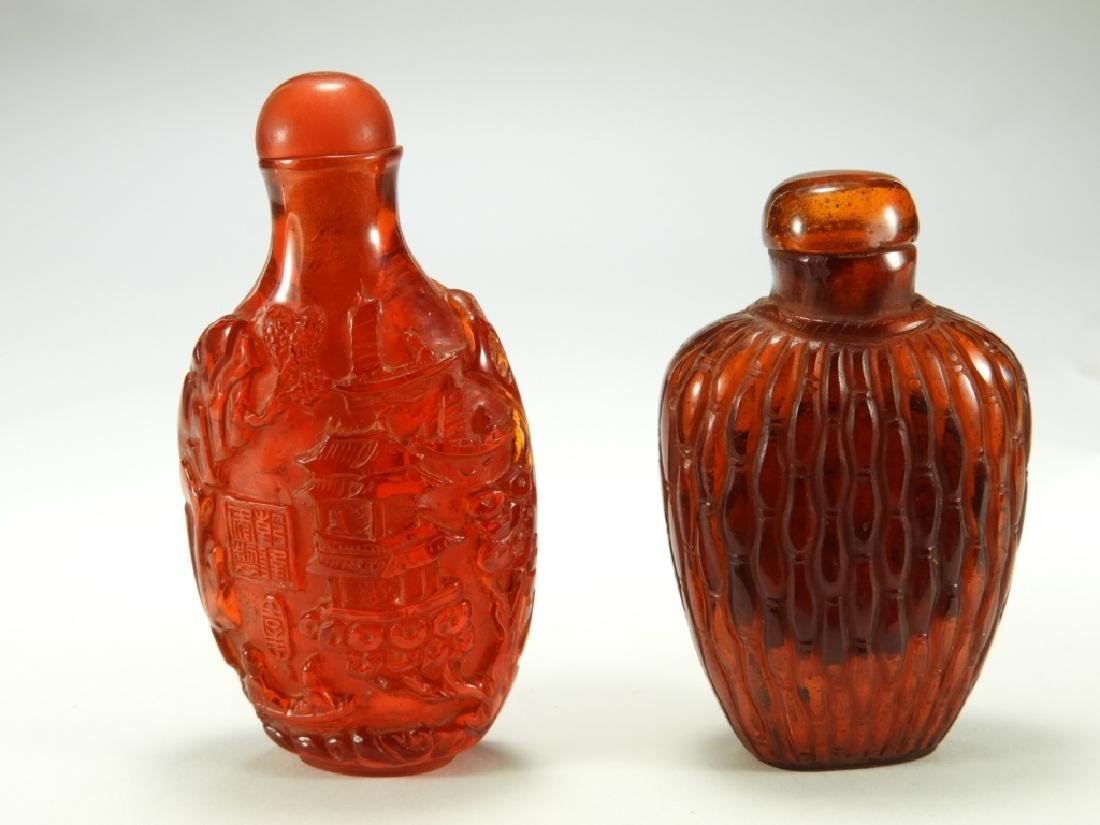 2 Chinese Faux Amber Snuff Bottles - 5