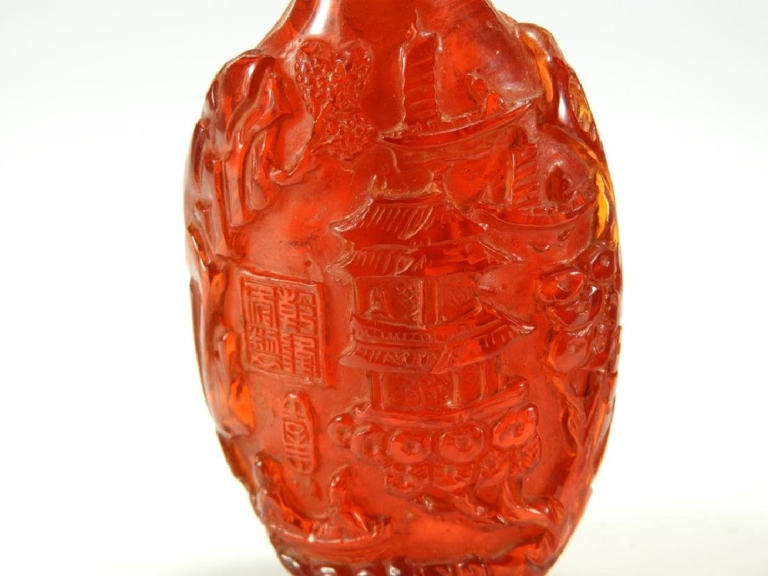 2 Chinese Faux Amber Snuff Bottles - 6