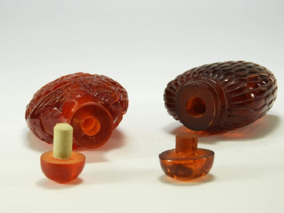 2 Chinese Faux Amber Snuff Bottles - 7
