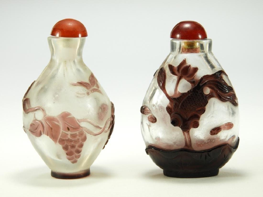 2 Chinese Peking Glass Overlay Snuff Bottles