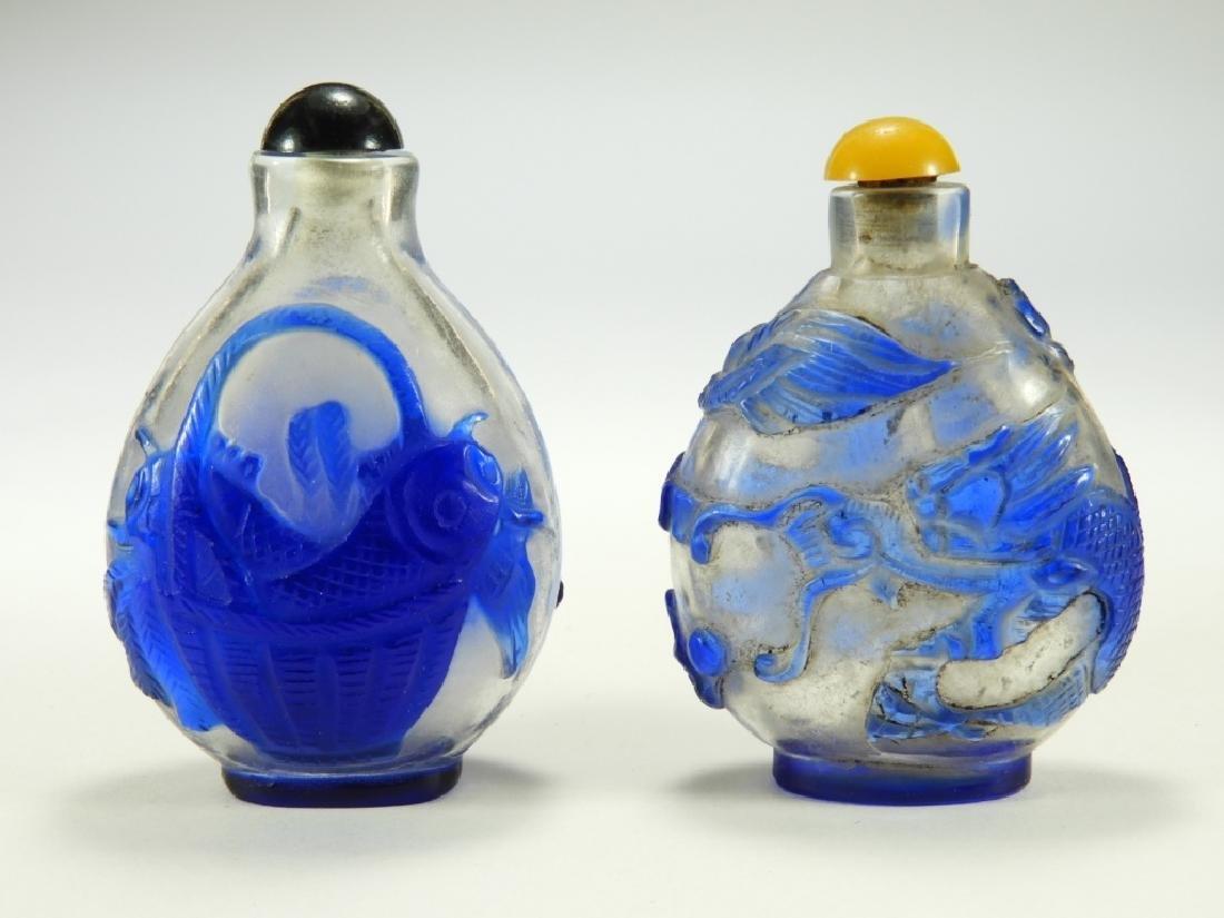 2 Chinese Peking Glass Snowflake Snuff Bottles