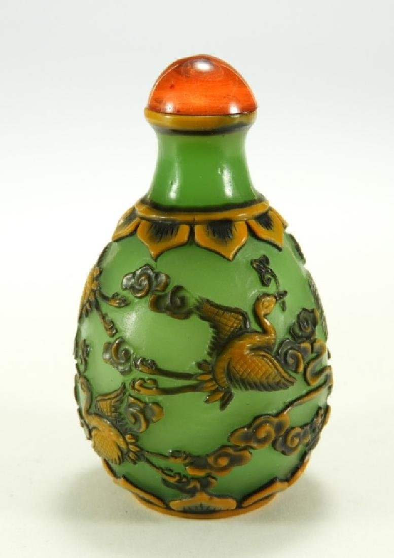 Chinese 2 Color Overlay Peking Glass Snuff Bottle - 2
