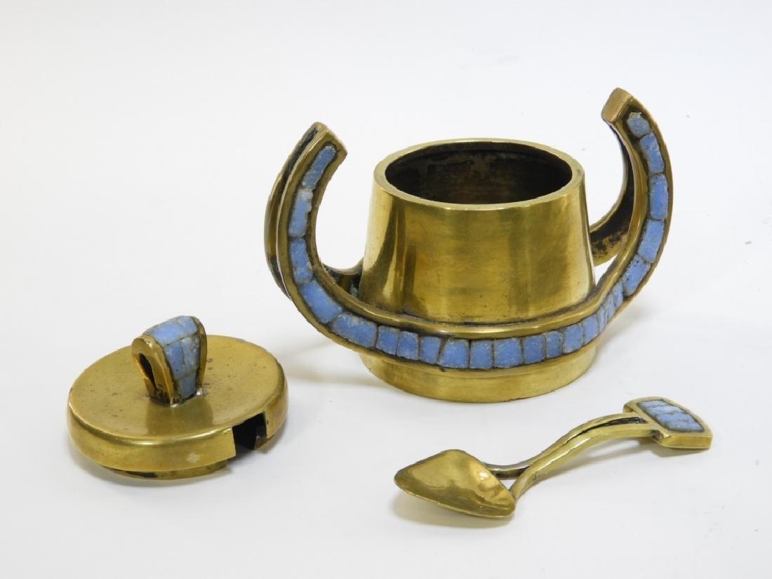 Salvadore Teran Brass & Mosaic Glass Tile Tea Set - 10