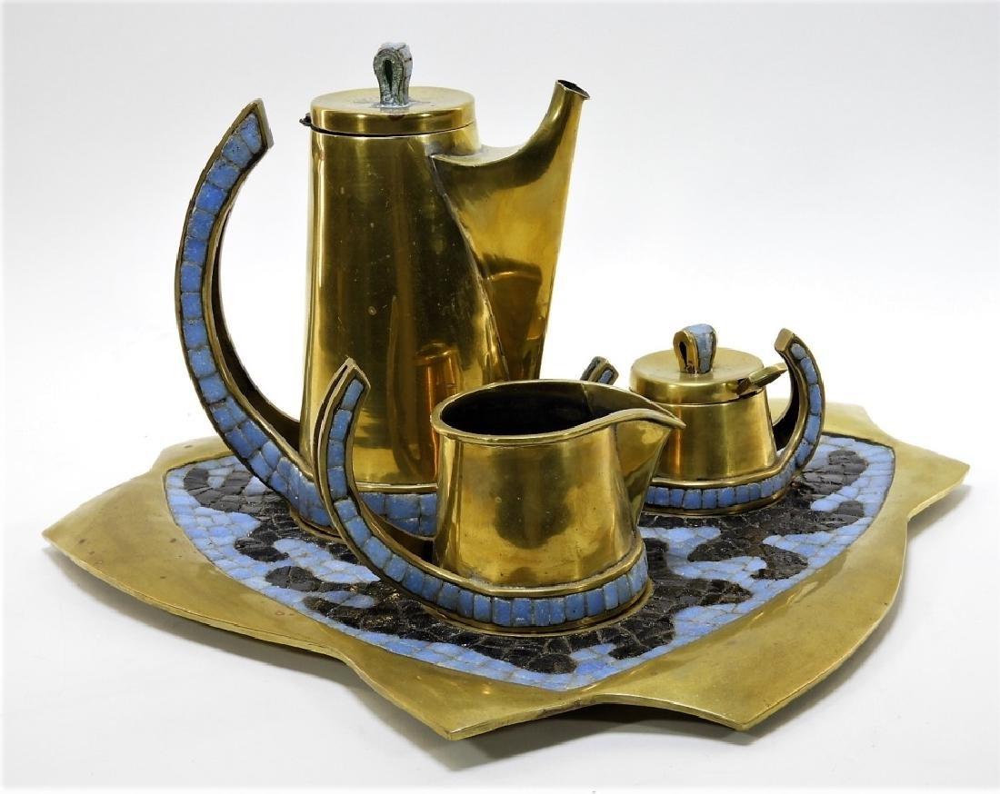 Salvadore Teran Brass & Mosaic Glass Tile Tea Set