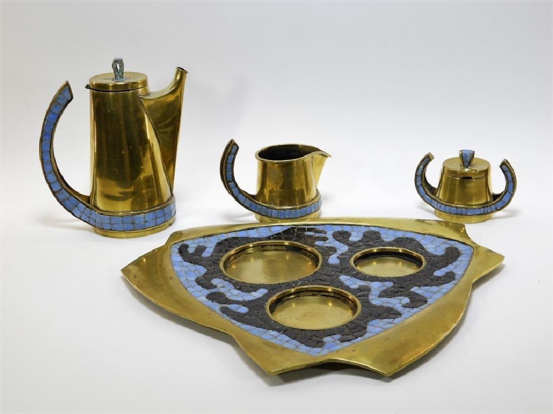 Salvadore Teran Brass & Mosaic Glass Tile Tea Set - 2