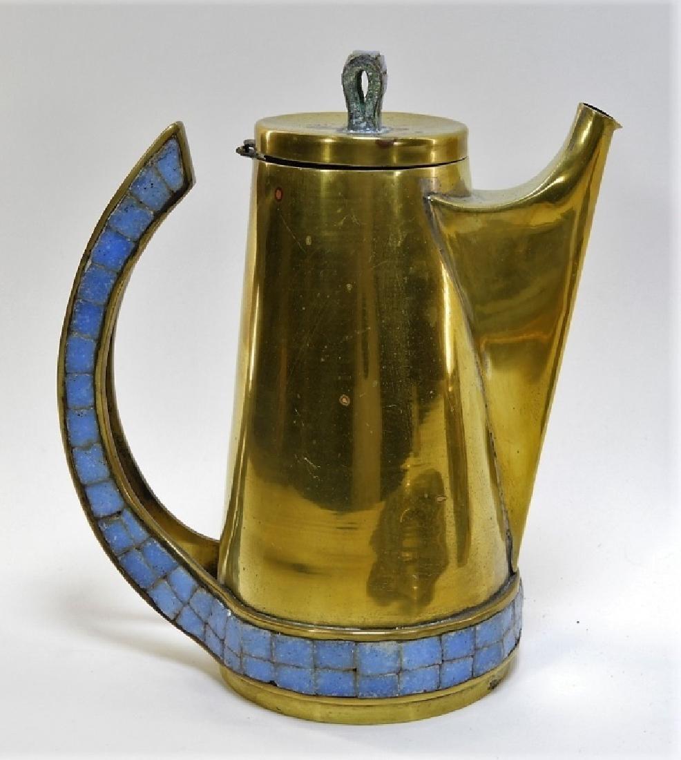 Salvadore Teran Brass & Mosaic Glass Tile Tea Set - 3