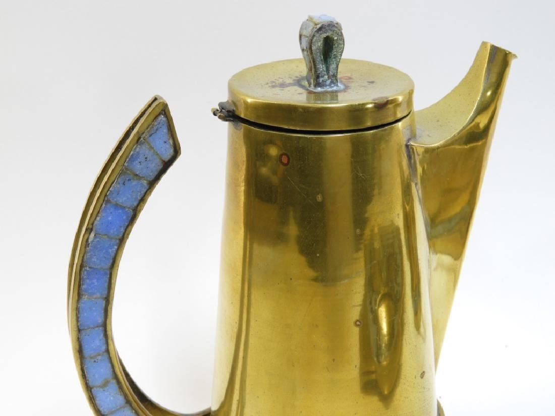 Salvadore Teran Brass & Mosaic Glass Tile Tea Set - 4