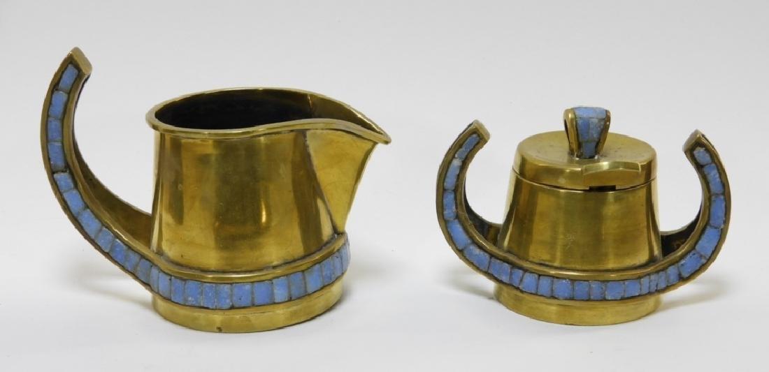 Salvadore Teran Brass & Mosaic Glass Tile Tea Set - 5