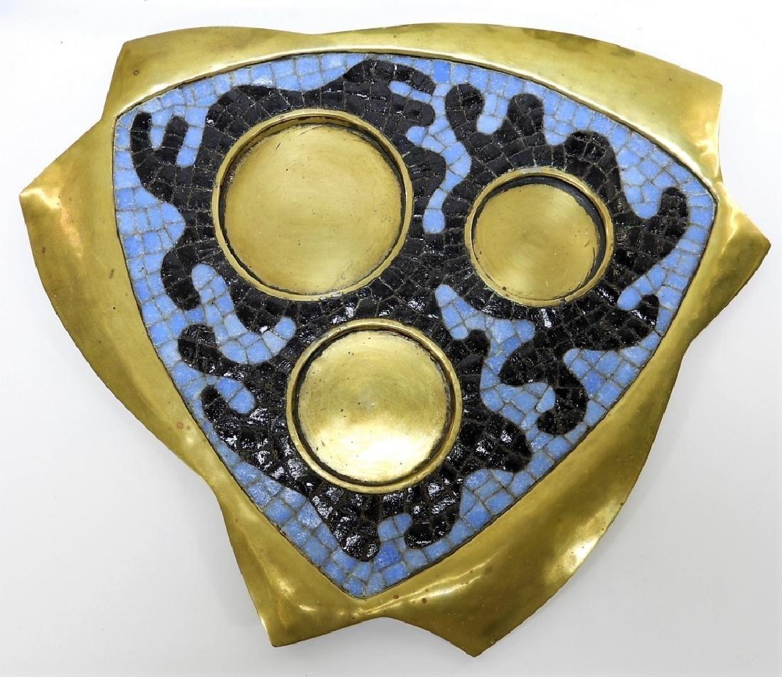 Salvadore Teran Brass & Mosaic Glass Tile Tea Set - 6