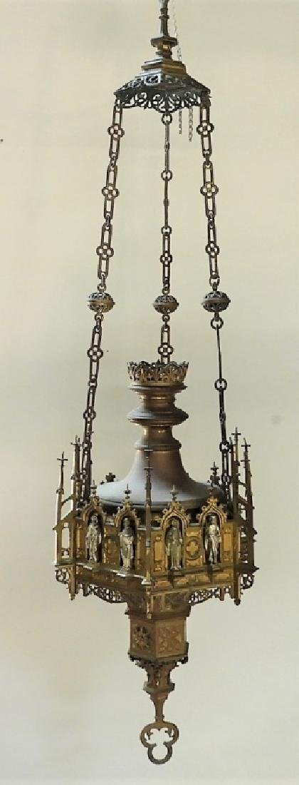 Continental Gothic Silvered Gilt Bronze Fixture