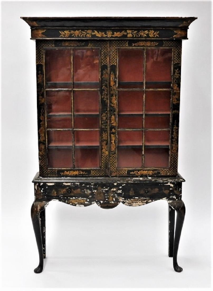 French Chinoiserie Queen Anne Style China Cabinet