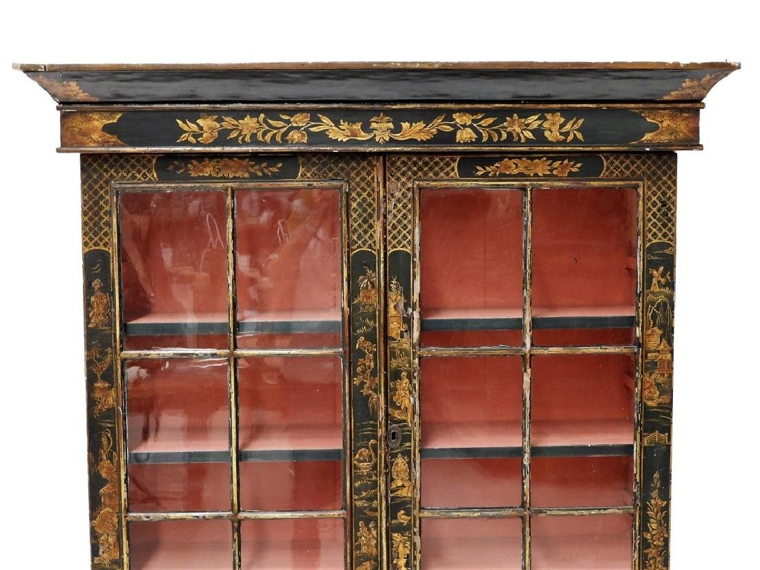 French Chinoiserie Queen Anne Style China Cabinet - 2