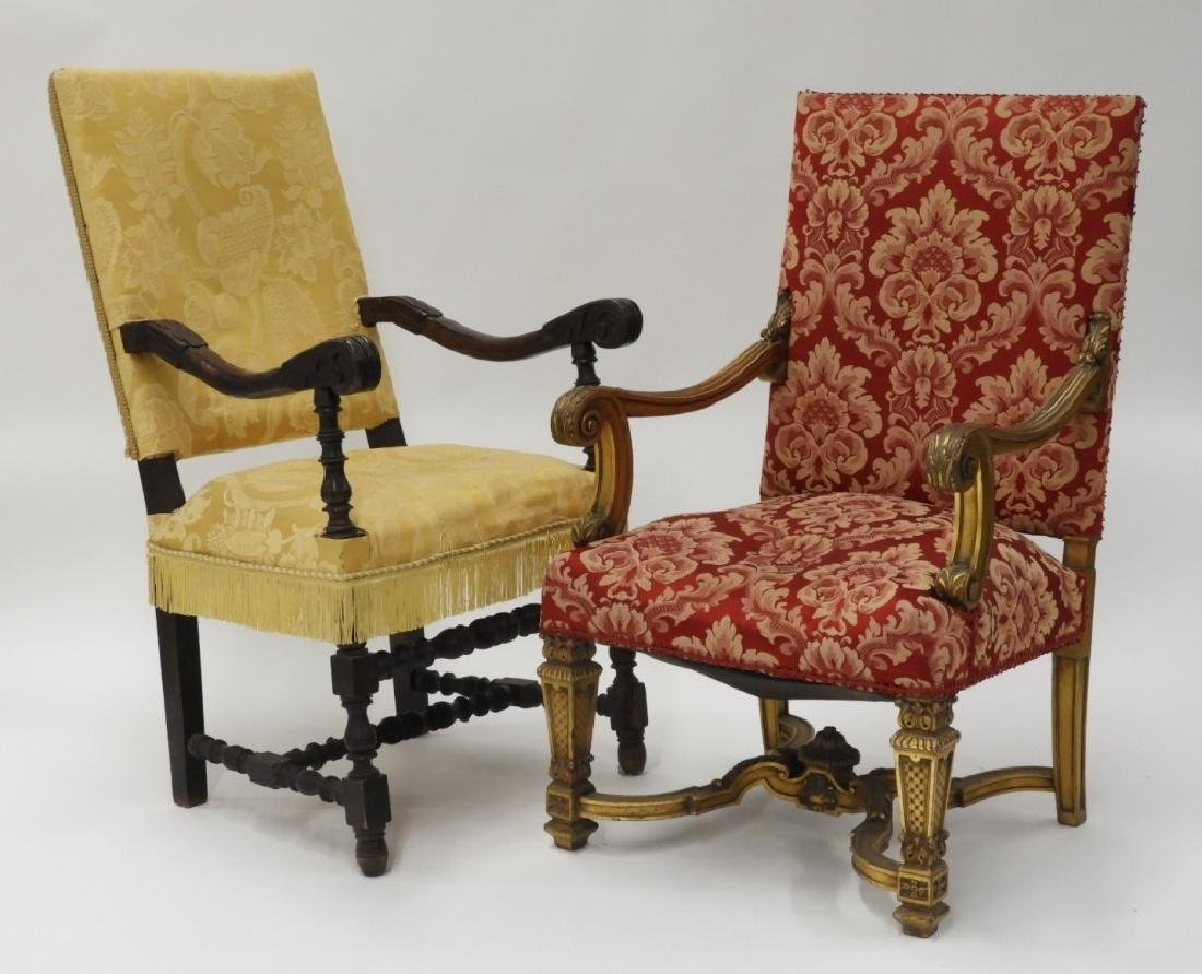 2 Continental European Carved Lolling Chairs