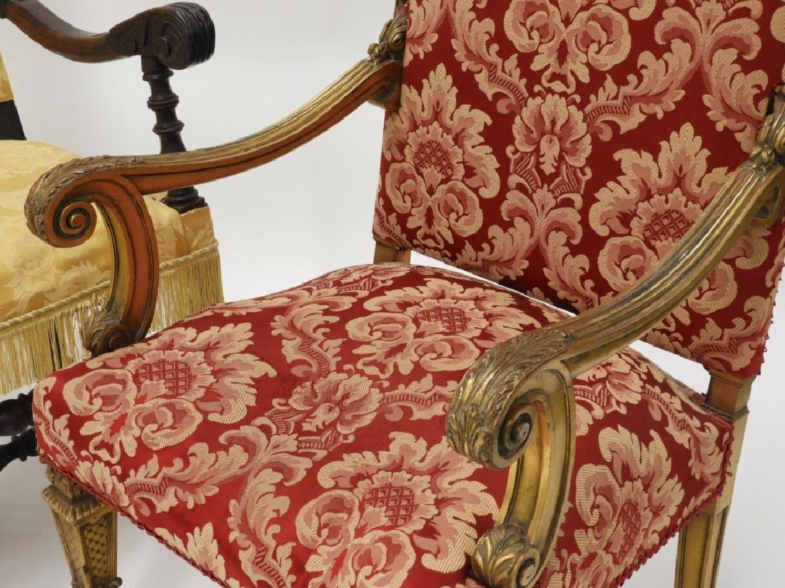 2 Continental European Carved Lolling Chairs - 3