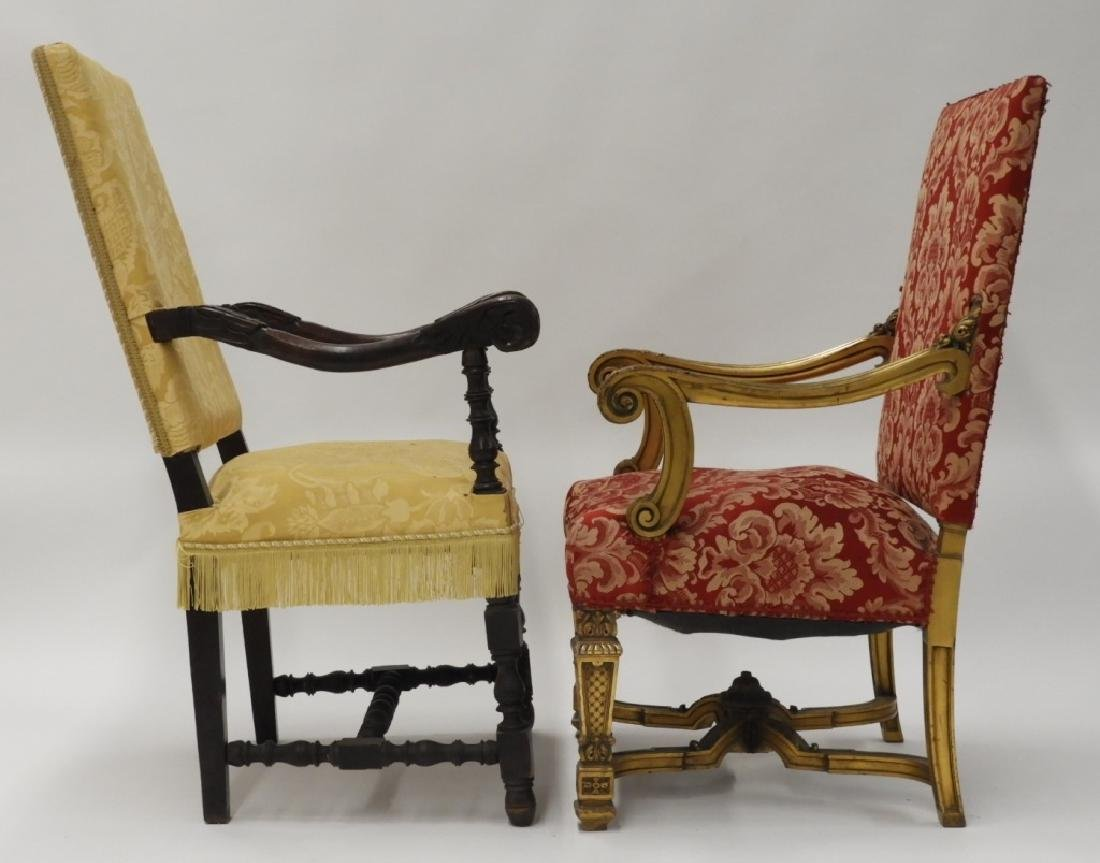 2 Continental European Carved Lolling Chairs - 7