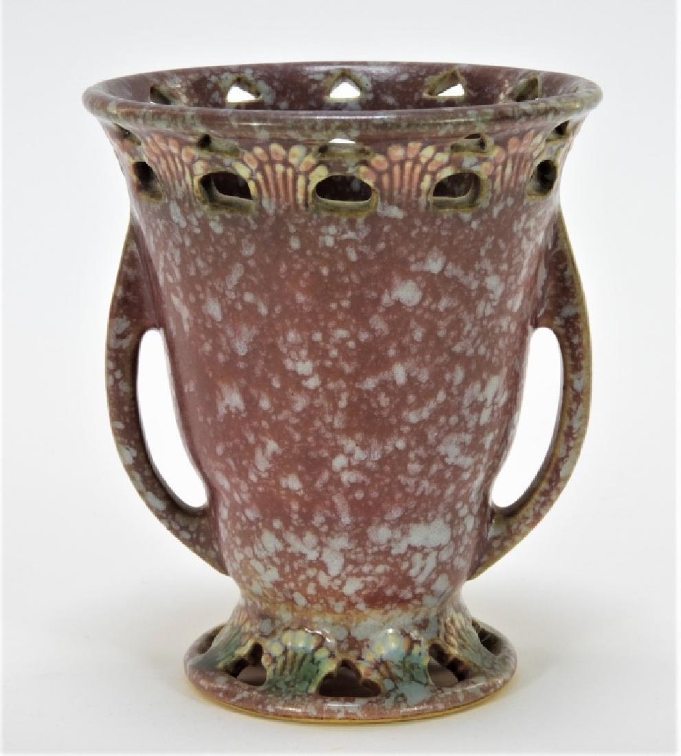 Roseville Art Pottery Red Ferella Twin Handle Vase