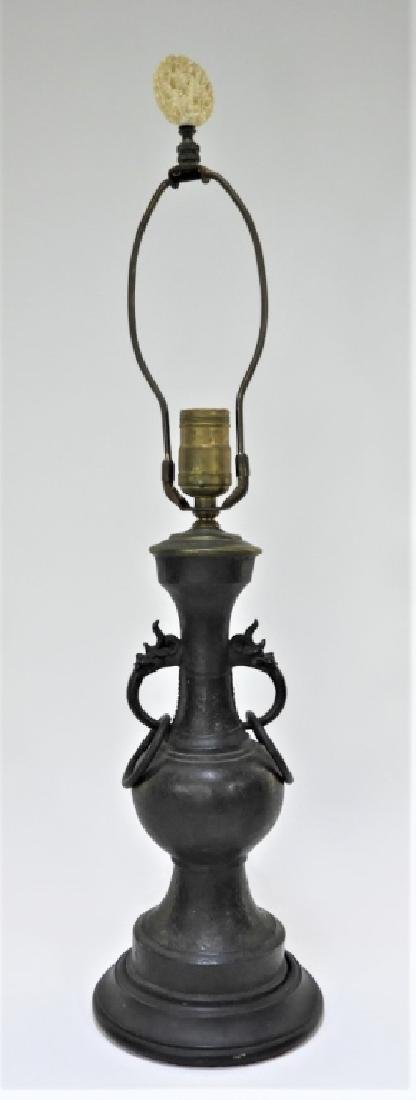 Chinese Ming Dynasty Bronze Free Ring Vase Lamp - 2