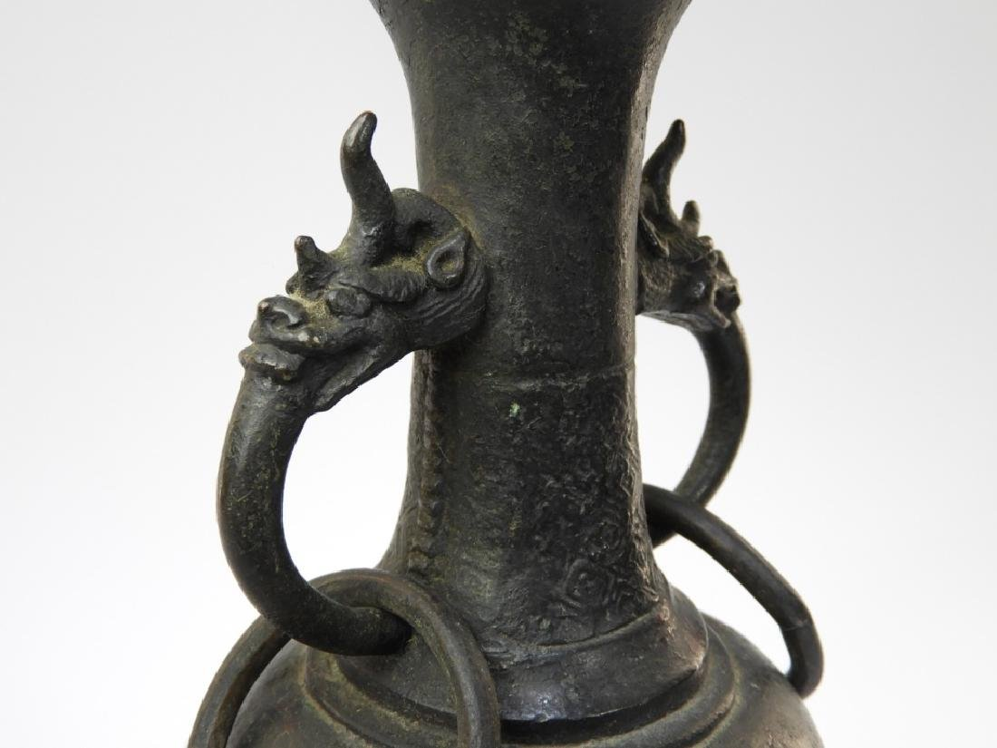 Chinese Ming Dynasty Bronze Free Ring Vase Lamp - 5