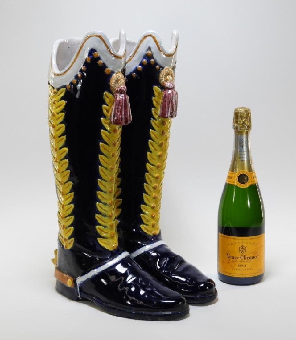 Italian Majolica Spur Heel Double Boot Vase