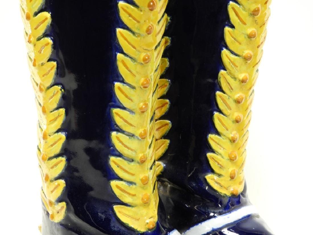 Italian Majolica Spur Heel Double Boot Vase - 3