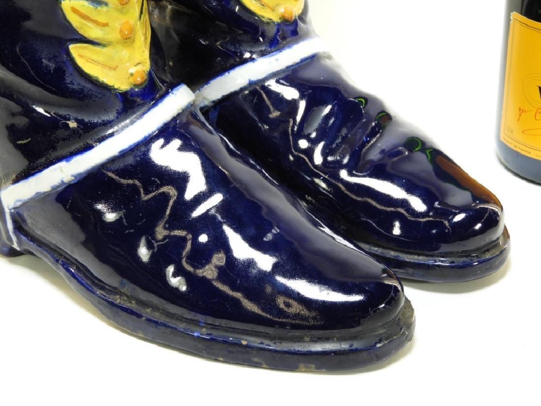 Italian Majolica Spur Heel Double Boot Vase - 4