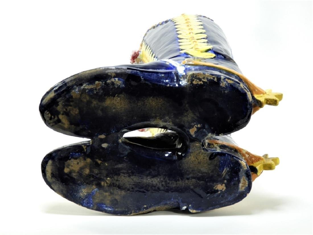 Italian Majolica Spur Heel Double Boot Vase - 7