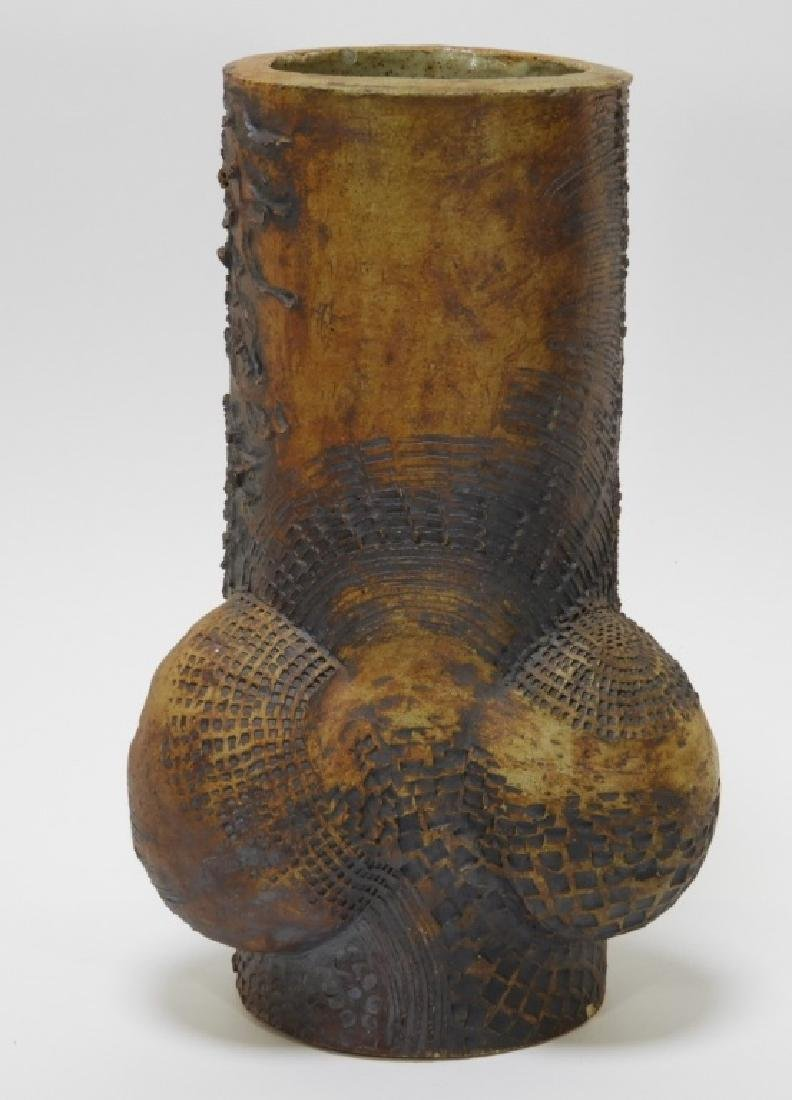 American Modernist Phallic Raku Pottery Log Vase