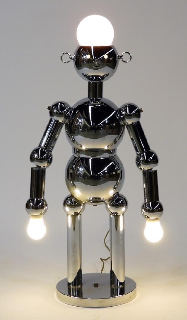 Italian Torino Lamp Co. Chrome Plated Robot Lamp