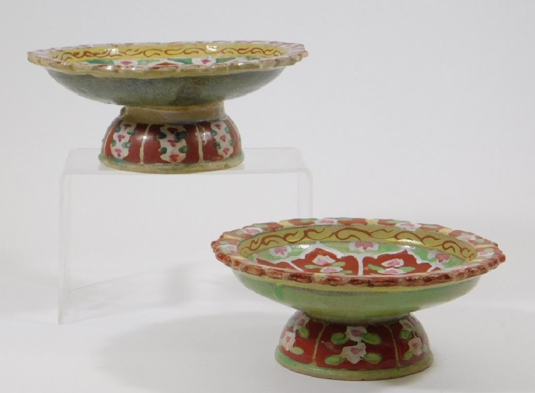 PR SE Asian Polychrome Glazed Earthenware Stem Cup