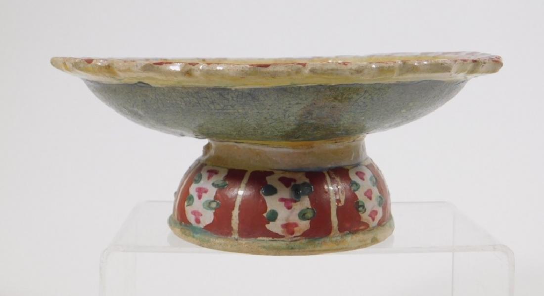 PR SE Asian Polychrome Glazed Earthenware Stem Cup - 3