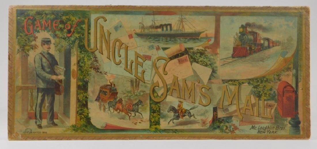 C.1893 McLoughlin Uncle Sam's Mail Board Game