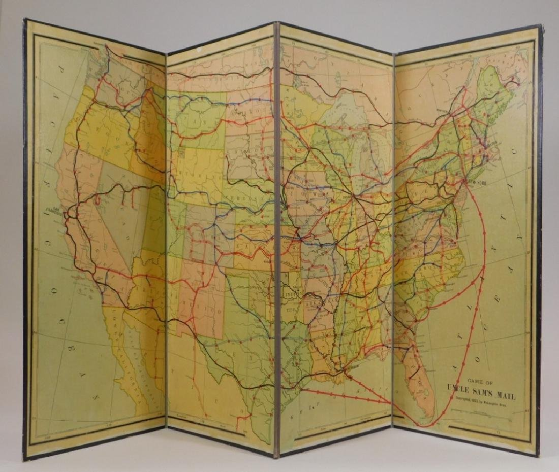 C.1893 McLoughlin Uncle Sam's Mail Board Game - 3