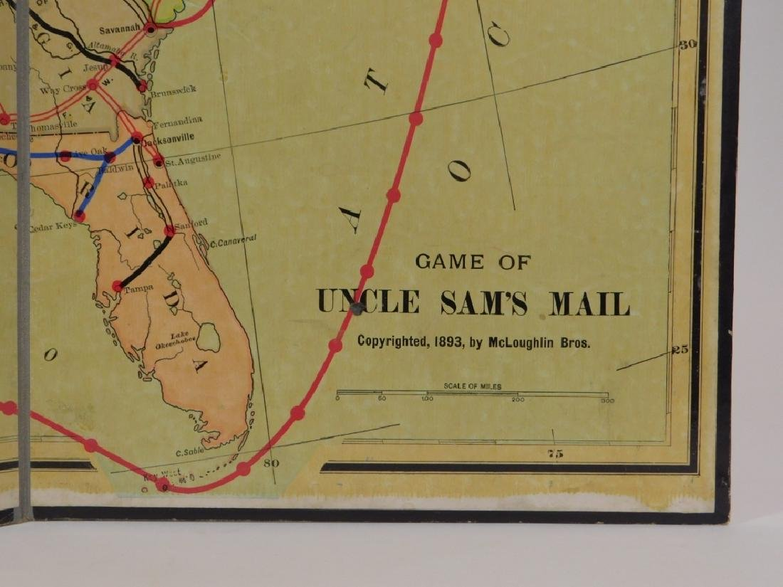 C.1893 McLoughlin Uncle Sam's Mail Board Game - 4