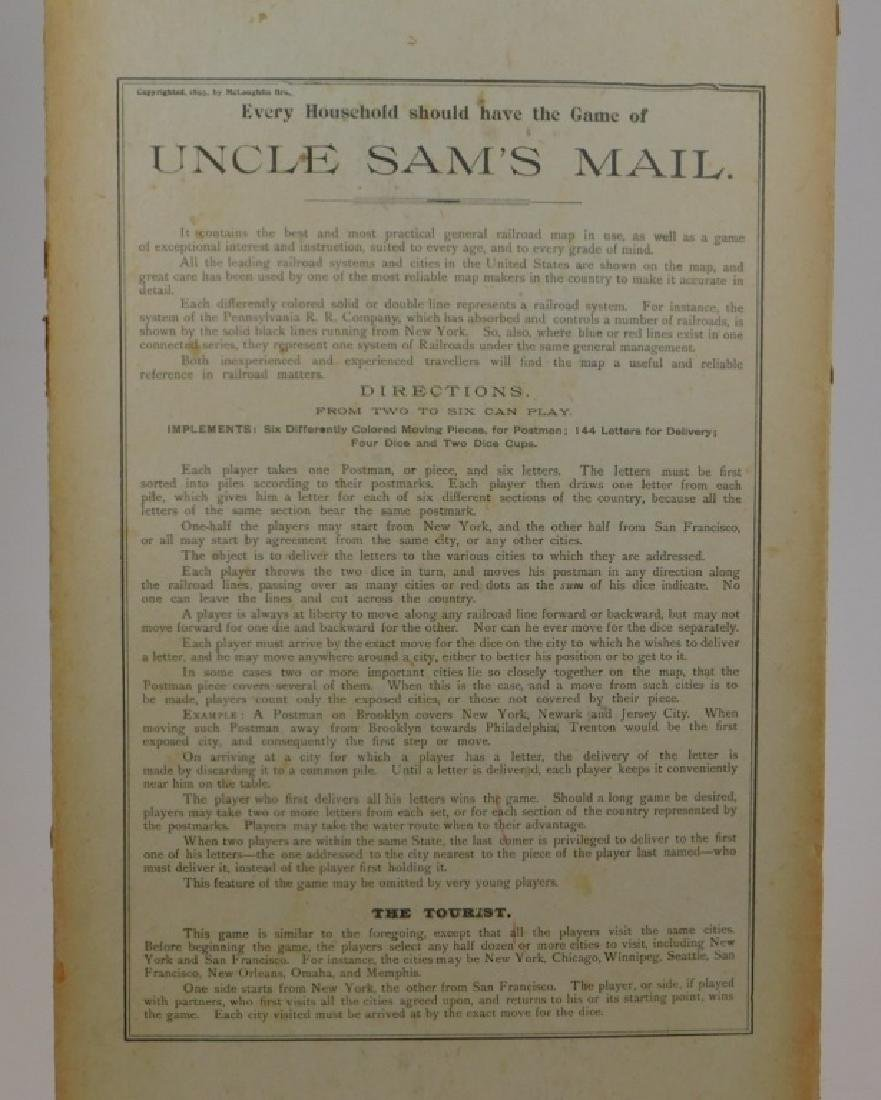 C.1893 McLoughlin Uncle Sam's Mail Board Game - 5