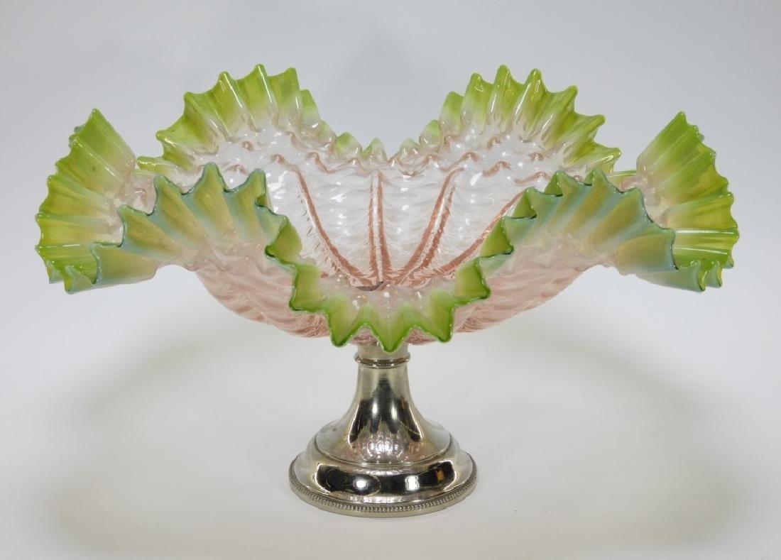 19C. Victorian Diamond Quilted Glass Brides Basket
