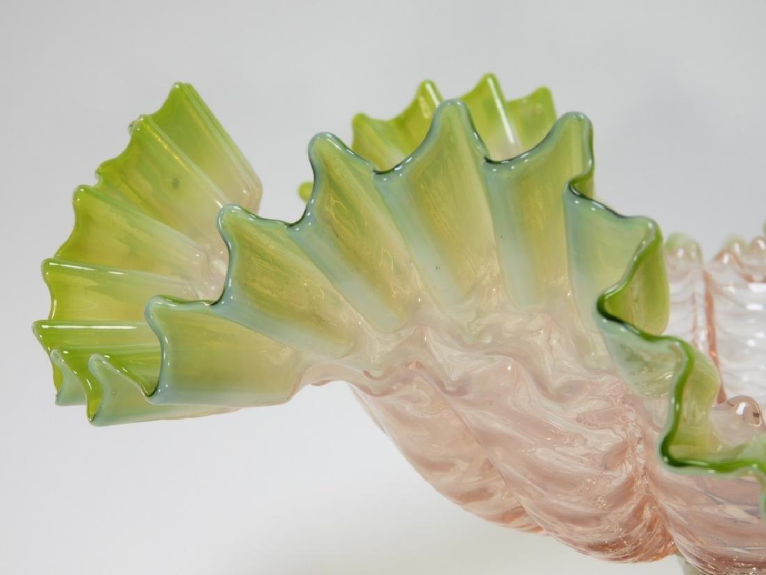 19C. Victorian Diamond Quilted Glass Brides Basket - 3